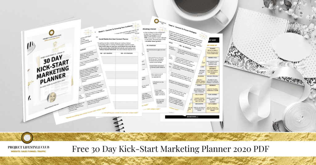 """Free 30 Day Kick-Start Marketing Planner 2020 PDF"""